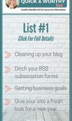 ::Quick and Worthy List:: Grow Your Blog In 2016!